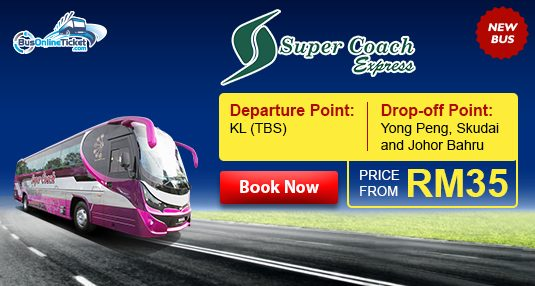 Super Coach Holday Bus from TBS to Skudai, Johor Bahru and Yong Peng