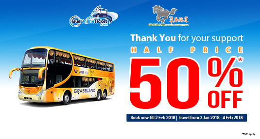 Get 50 % OFF for Grassland Express Bus Tickets with BusOnlineTicket.com