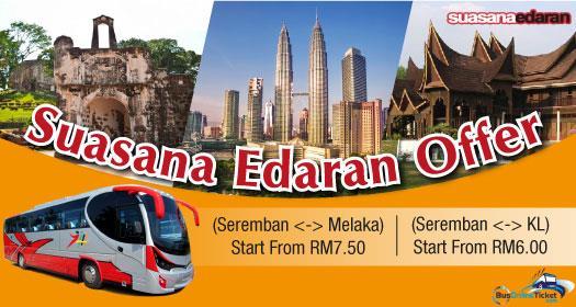 Suasana Edaran offer bus service between Seremban and Kuala Lumpur/Melaka