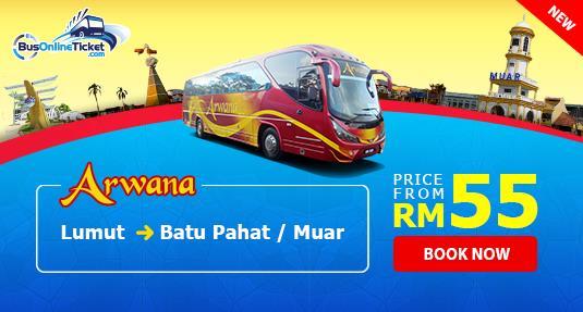 Arwana Express offers bus from Lumut to Batu Pahat and Muar
