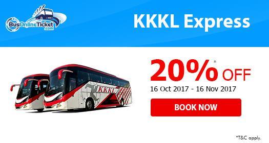 Get 20% OFF for KKKL Express Bus Tickets with BusOnlineTicket.com