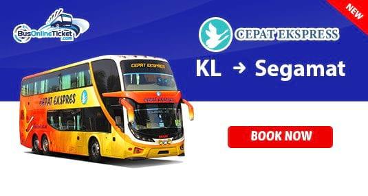 Cepat Express bus from Kuala Lumpur to Segamat