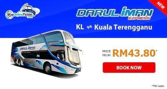 Darul Iman Express offers bus from KL to Kuala Terengganu and Kuala Terengganu to KL