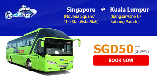 First Coach 2-Way Promotion for Bus Services Between Kuala Lumpur and Singapore from SGD 50