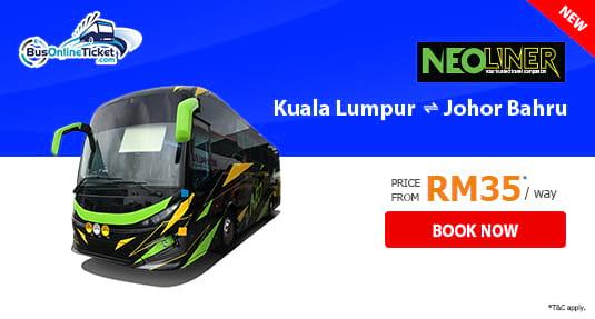 Neoliner Express Bus Between Kuala Lumpur and Johor Bahru