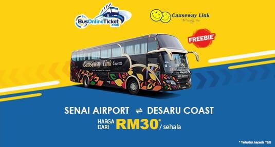 Causeway Link Express Offers Direct Bus Service Between Senai Airport and Desaru Coast