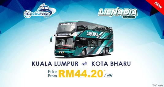 Lienadia Express Provides Bus Between Kuala Lumpur and Kota Bharu