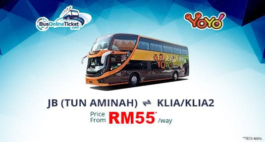 Yoyo Express offers bus between Johor Bahru and KLIA or KLIA2