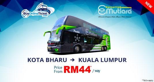 E-Mutiara Bus Service From Kota Bharu to Kuala Lumpur