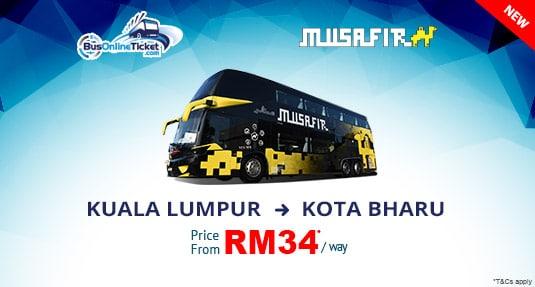 Ekspres Musafir offers bus from Kuala Lumpur to Kota Bharu. Book now!