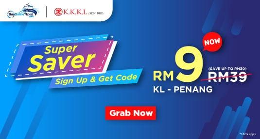 Super Saver! KKKL Express RM9 Bus Ticket Between Kuala Lumpur and Penang